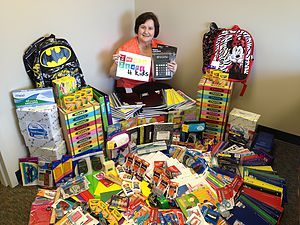 School Supply Drive PGI employees love to bring their ideas of 'giving' to the table! They had a friendly competition around Christmas time to see who could bring the most school supplies. The supplies were donated to a local school in need.